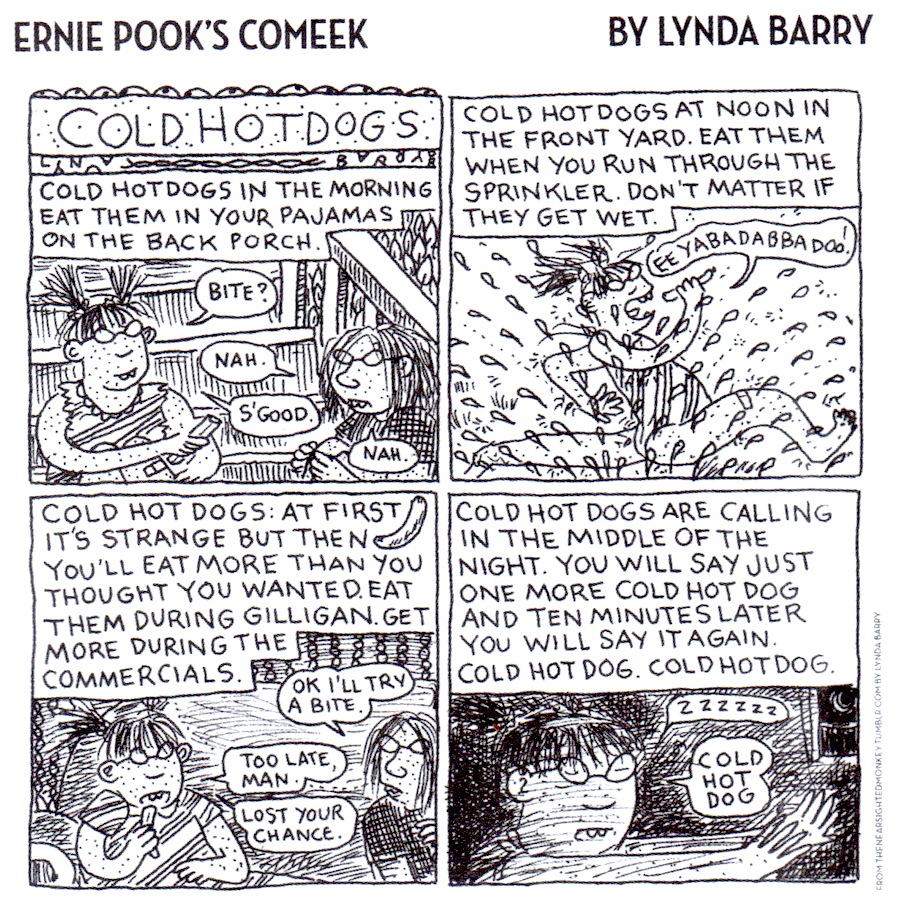 "Lynda Barry's ""Ernie Pook's Comeek,"" featuring awkward freckled girls, began appearing in alternative weekly newspapers in 1979. (From Lynda Barry's TheNearsightedMonkey Tumblr, via ""Pretty in Ink"")"