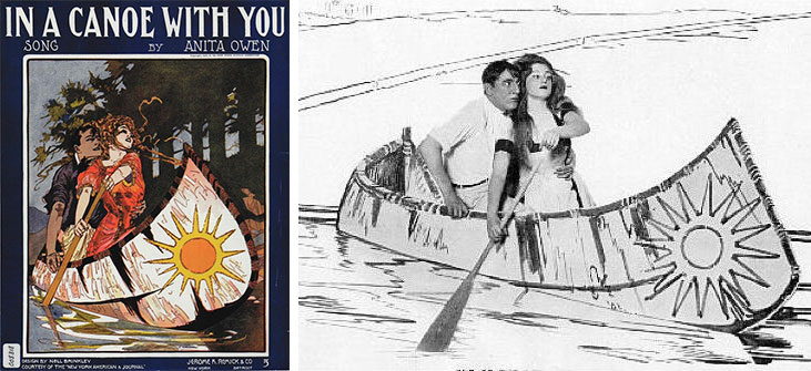 "Nell Brinkley drew the art for the sheet music to ""In a Canoe With You."" (Via University of Oregon Digital Library) The Ziegfeld Follies of 1908 reproduced the image in living tableau. (CarlaCushman.blogspot.com)"