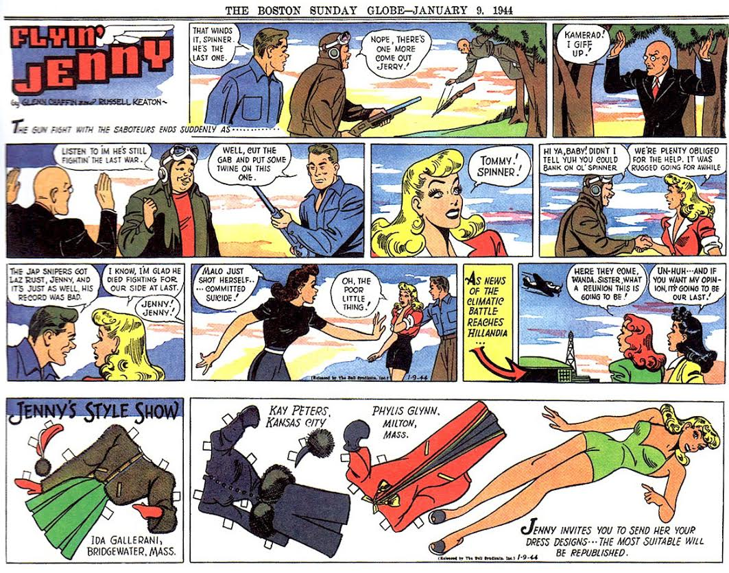 "Gladys Parker took over Russell Keaton's ""Flyin' Jenny"" when he went into service in 1943. The comic strip told the story of an aviatrix who fought Nazis. Click image to enlarge. (Via ""Pretty in Ink"")"