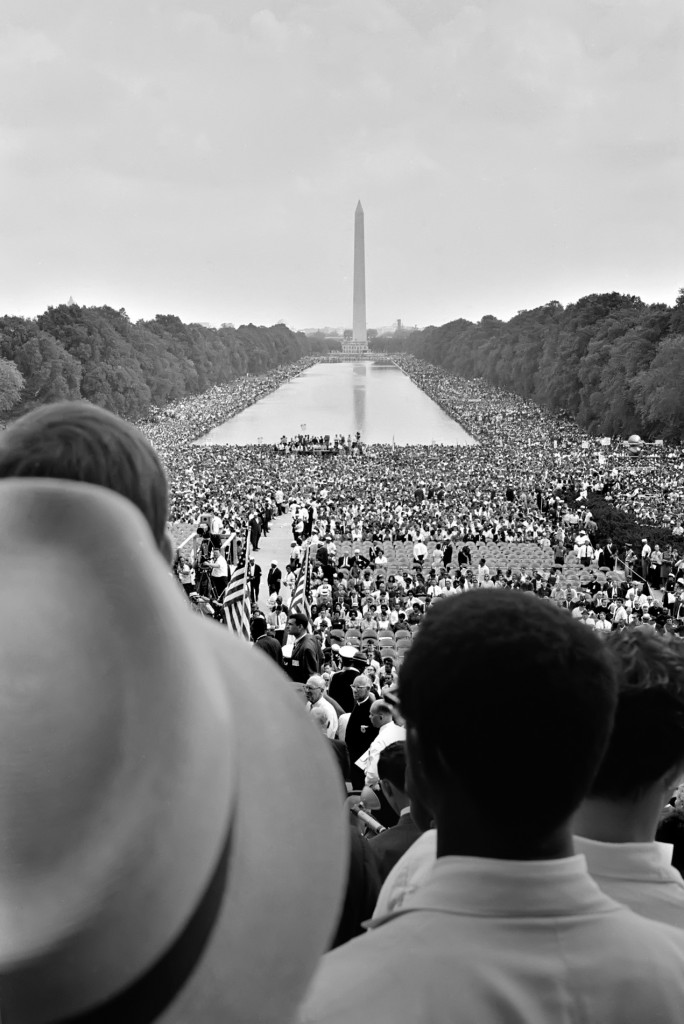 The National Mall during the March on Washington in 1963, as documented by Warren K. Leffler. Via the Library of Congress.