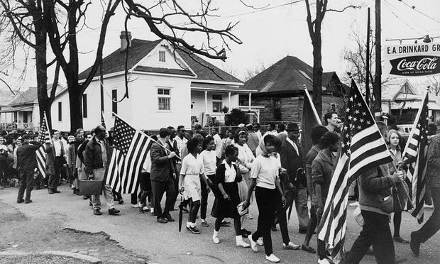 Marchers on the route from Selma to Montgomery in the spring of 1965, as documented by Peter Pettus. Via the Library of Congress.