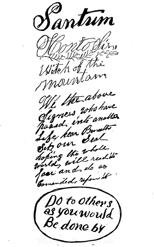 "An attorney named Henry Steel Olcott investigated two brothers, William and Horatio Eddy, who were Vermont farmers that claimed to have incredible medium powers. He wrote a 1875 book about it, ""People From Other Worlds,"" and included this example of spirit writing. (Courtesy of MysteriousPlanchette.com)"