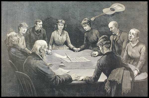 "An engraving from the April 2, 1887, edition of ""Frank Leslie's Illustrated Newspaper"" shows a séance with a floating guitar and a spirit hand writing messages. (Courtesy of MysteriousPlanchette.com)"