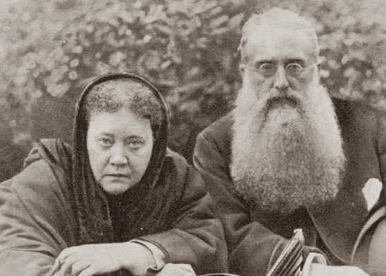 Henry Steel Olcott met medium Madame Helena Blavatsky at the Eddy farm. Pictured in 1888, the two were instrumental in forming the Theosophical Society, an attempt to integrate world religion, reason, science, and Spiritualism. (Via WikiCommons)