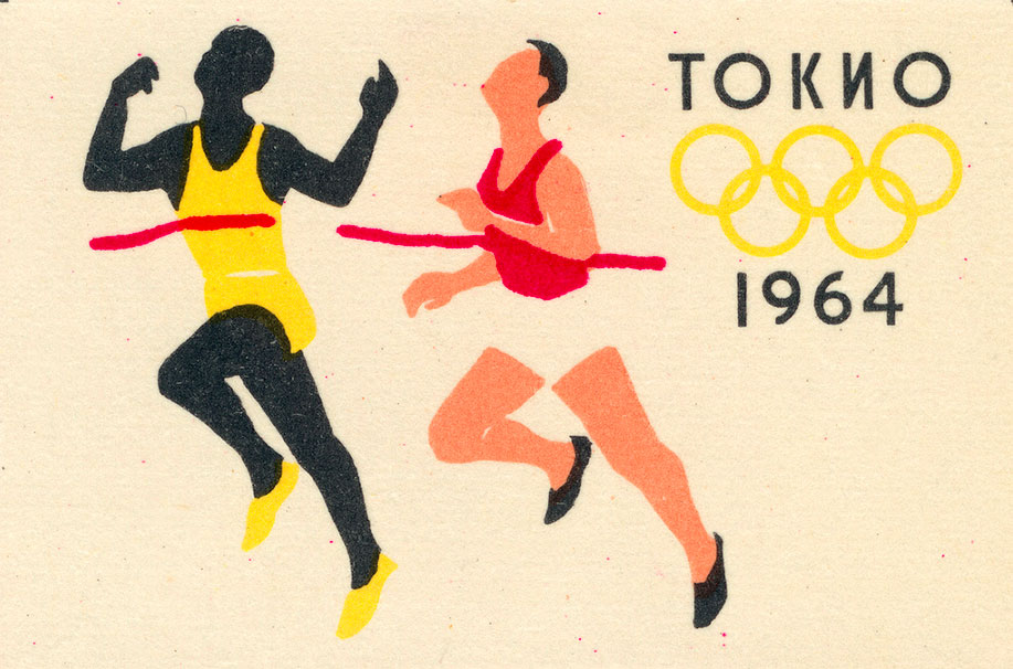 Top and above: Russian matchbox labels use graphic forms to illuminate subjects ranging from space travel to the 1964 Tokyo Olympics.