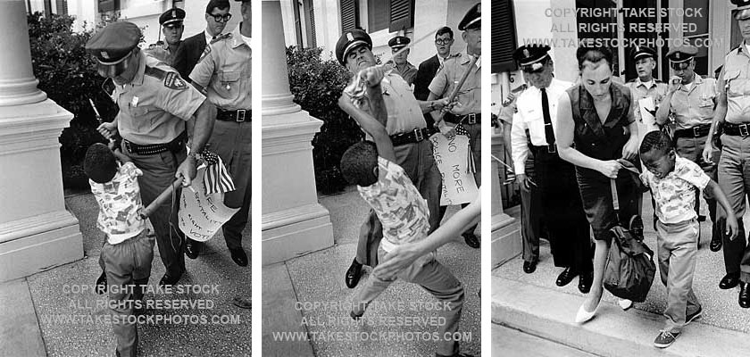 "Matt Herron won the World Press Photo Contest in 1965 for this series of a policeman ripping an American flag from the hands of young Anthony Quin, who was attending a voting-rights protest with his mother in Jackson, Mississippi. Courtesy of <a href=""http://www.takestockphotos.com/pages/herron.php"">Matt Herron</a>."