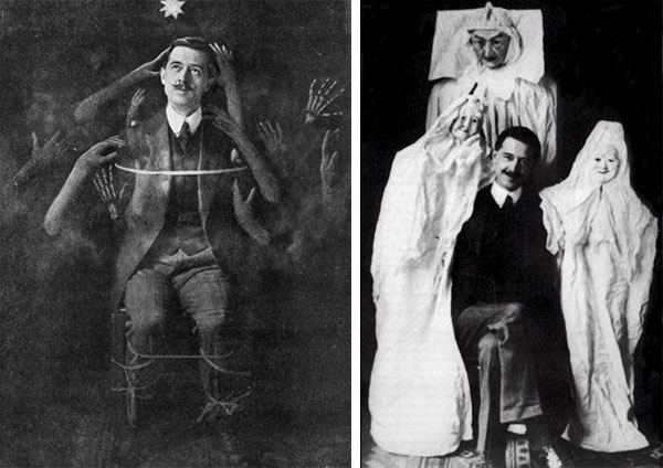 "Magician William S. Marriott ordered a bunch of fraudulent medium props from the ""Gambols With Ghosts"" catalog in the 1910s. At left, he poses with fake spirit hands. (CultofWeird.com) At right, he poses with ghost puppets. (Via The Haunted Museum)"