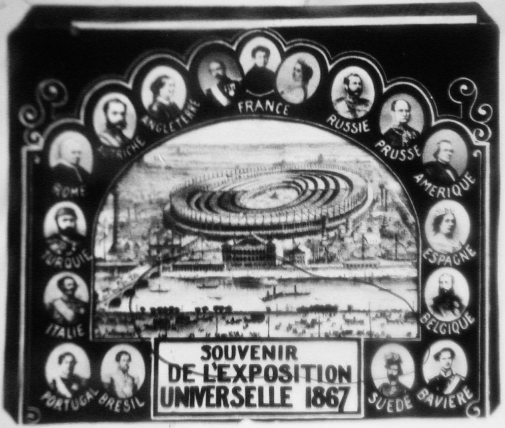 An image of the 1867 Paris Exposition Universelle hidden in a needle case.