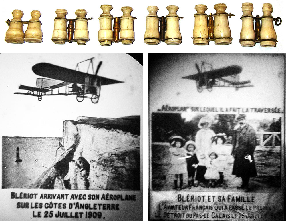 A row of tiny, bone Stanhope binoculars, which men often wore on their watch chains, and two images from a binocular Stanhope showing the famous aviator Louis Blériot.