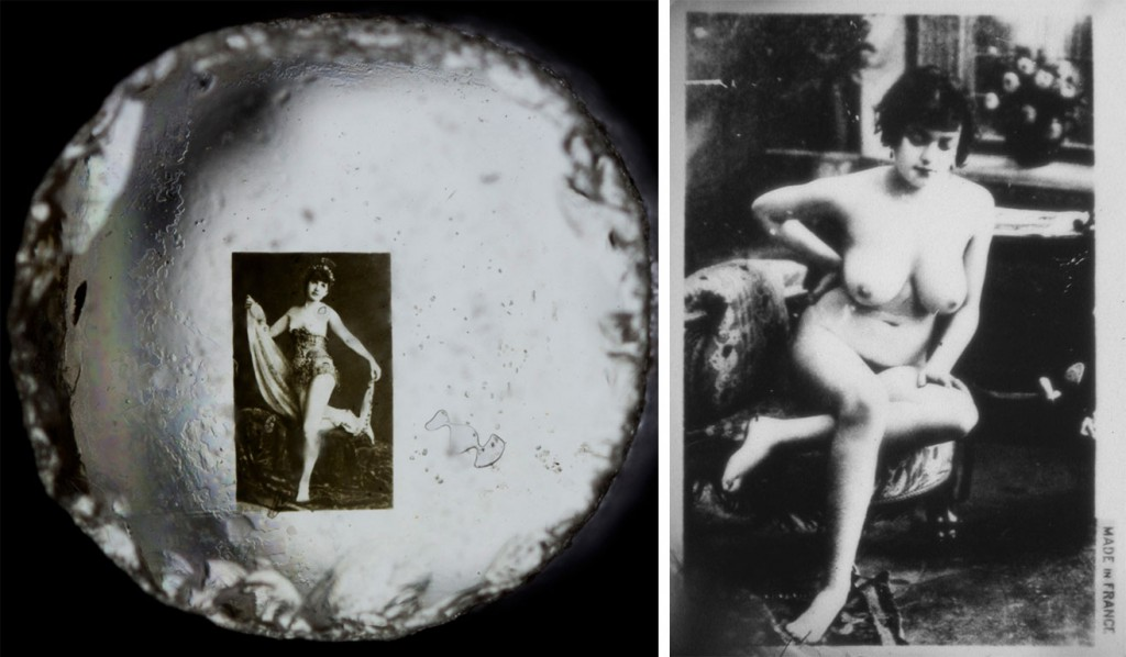 "Left: One of the erotic Stanhope lenses from the Kinsey's collection, circa 1920s. Photographed by Sol Legault. Courtesy of <a href=""http://www.kinseyinstitute.org/"">The Kinsey Institute for Research in Sex, Gender, and Reproduction</a>. Right: Many risqué photos seem more awkward than sexy by modern standards, like this topless woman from Jean Scott's collection."