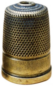 A rare Stanhope thimble with a thin lens designed by William Pursall, circa 1880s.