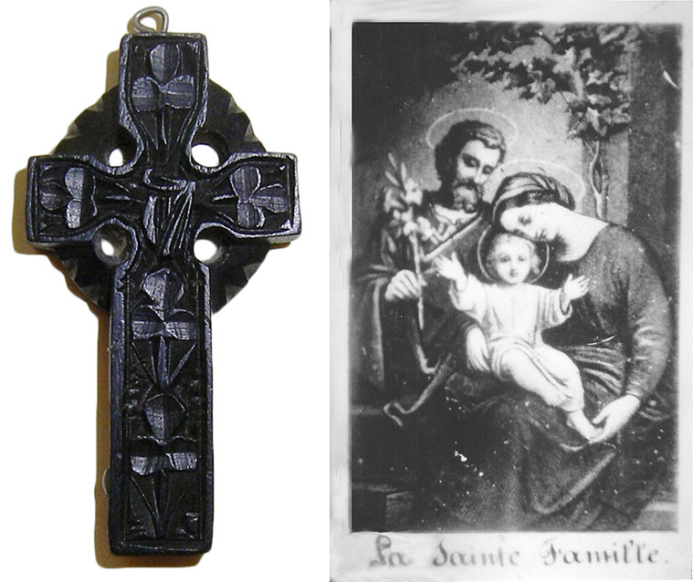 Left: This carved bog-oak crucifix from Ireland features shamrocks, an Irish harp, and a Stanhope barely visible at bottom-left, circa 1890. Right: A microphotograph of the Holy Family from a bone rosary Stanhope, circa 1870.