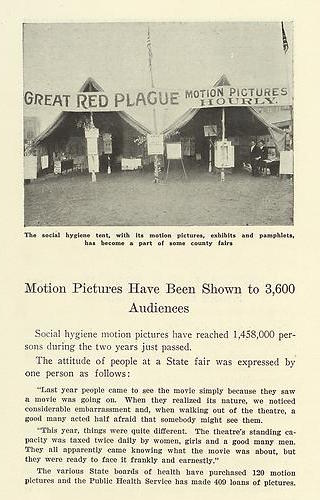 "A 1920 United States Public Health Service report ""Two Years Fighting VD"" explains that the ""social hygiene tent"" showing motion pictures had become a staple of county fairs. (Courtesy of Social Welfare History Archives, University of Minnesota Libraries)"