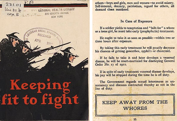 "This American Social Hygiene pamphlet for soldiers from 1918 warns in all caps, ""KEEP AWAY FROM THE WHORES."" (Courtesy of Social Welfare History Archives, University of Minnesota Libraries)"