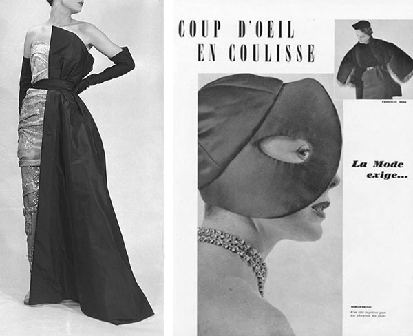 Postwar Schiaparelli designs included the stunning two-in-one dress at left, from 1951, and the goofy hat at right, from 1950.
