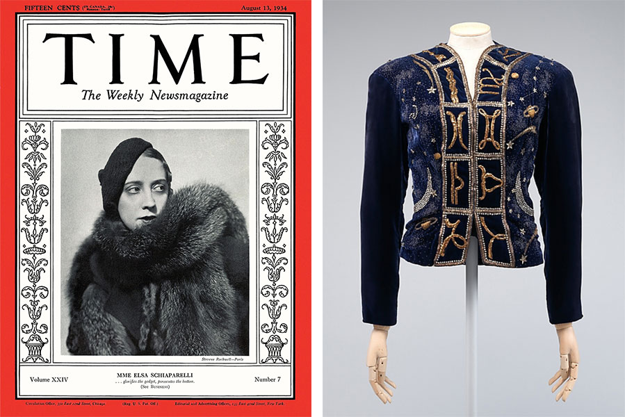 "Left, ""TIME"" magazine featured Schiaparelli on its cover in 1934. Right, an <a href=""http://www.metmuseum.org/collection/the-collection-online/search/156060"">evening jacket</a> from 1938 embroidered with signs of the Zodiac and images of space. Courtesy the Metropolitan Museum of Art."