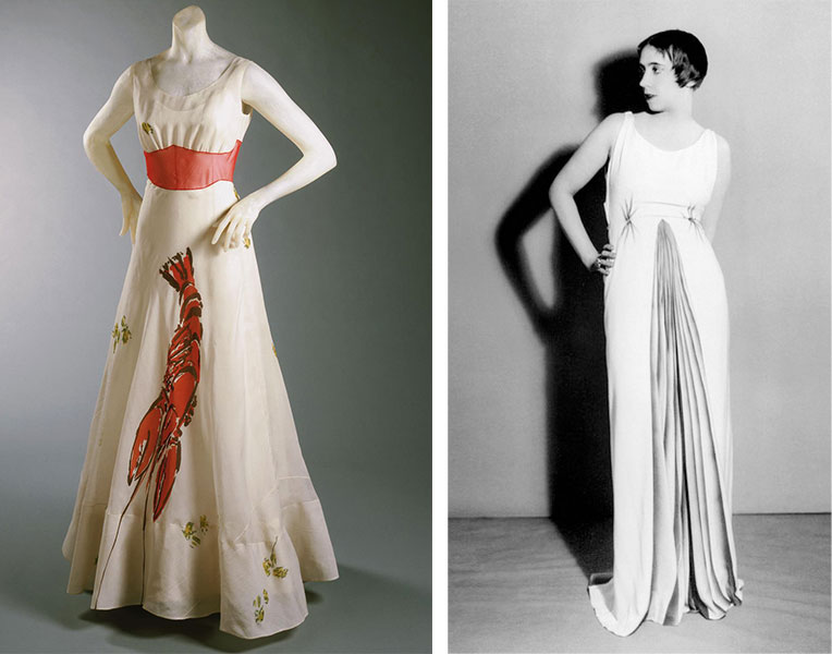 "Left, the infamous <a href=""http://www.philamuseum.org/collections/permanent/65327.html"">Lobster Dress</a> from 1937 worn by Wallis Simpson in ""Vogue"" magazine. Courtesy the Philadelphia Museum of Art. Right, Schiaparelli wears an evening gown she designed with a trompe l'oeil pleat painted by artist Jean Dunand in 1931."