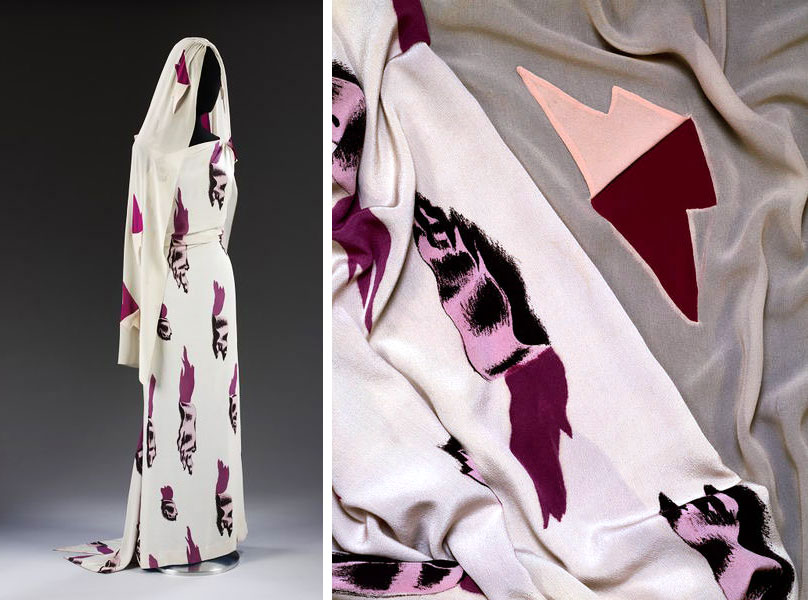 "The 1938 Dali and Schiaparelli <a href=""http://collections.vam.ac.uk/item/O84418/the-tears-dress-the-circus-evening-ensemble-dress-schiaparelli-elsa/"">ensemble</a> featuring an illusionistic print resembling tears in the fabric. The light-colored material has since faded from its original shade of blue. © Victoria and Albert Museum, London."