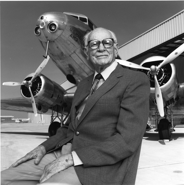 Arthur Raymond designed the DC-3 for Douglas Aircraft Company in the 1930s, making commercial airflight viable. Photographed in Long Beach with a DC-2, which he also designed, 1989.