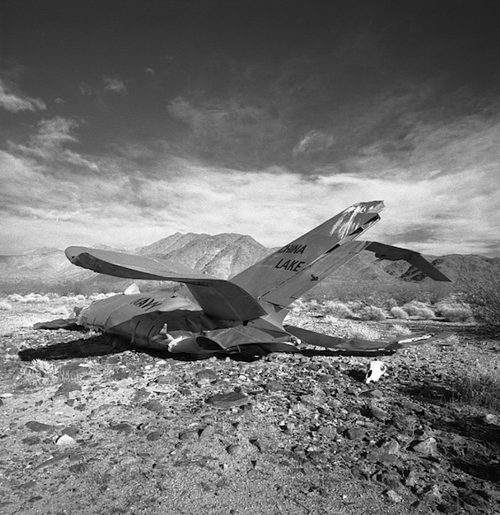 F-86 wreck with skull, China Lake Naval Weapons Station, 1987.
