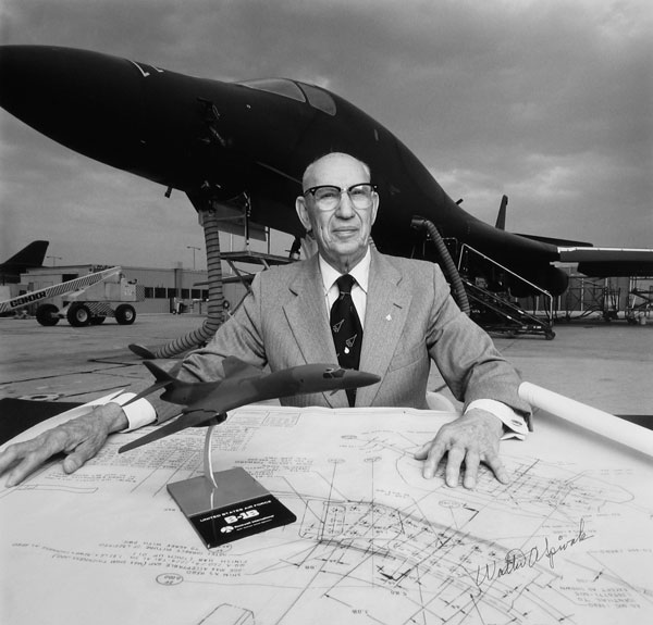 Walter Spivak, the first designer Seidemann photographed, is shown here in 1988 at the Rockwell facility in Palmdale, California, with his B-1B bomber.