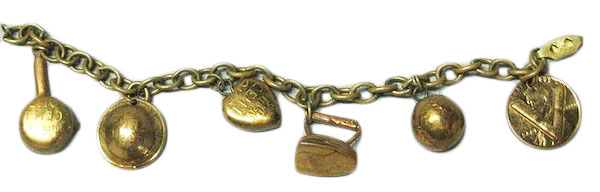 "A WWII sweetheart charm bracelet with a ""V for Victory"" love-token made from a  penny. (Courtesy of the Love Token Society)"