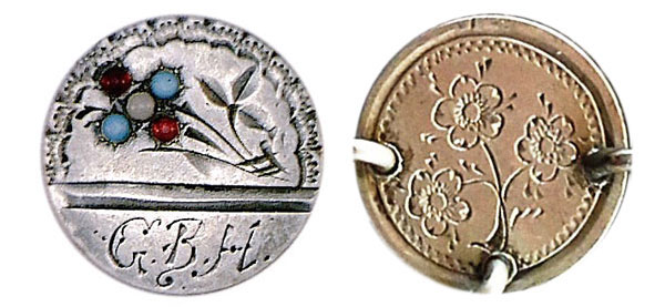 Left, a flower love token was set with turquoise, garnet, and pearl. Right, a three-cent silver coin was engraved with forget-me-nots and linked in a bracelet. (Courtesy of the Love Token Society)