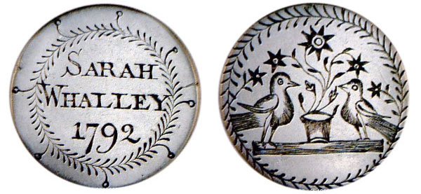 "Top: A dime love token from a man's pocket-watch chain features the name ""Nellie"" and an arrow piercing two hearts. Above: This early love token for Sarah Whalley was probably a memorial of her death. (Courtesy of the Love Token Society)"