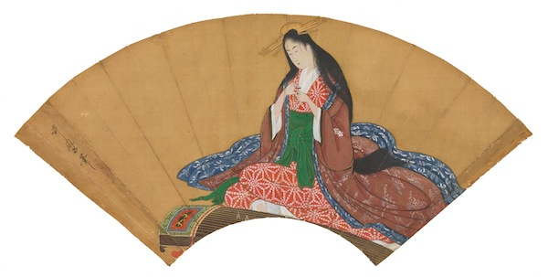A fan painting of ink, colors, and gold on silk, showing the courtesan Hanaogi of the Ōgiya brothel, 1794–1795, by Kitagawa Utamaro. (From the John C. Weber Collection. Image © John Bigelow Taylor.)