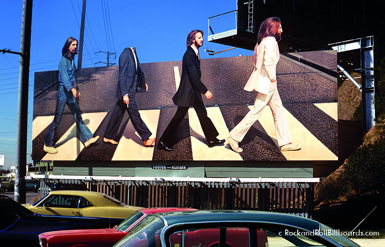 """In 1969, a teenager stole Paul McCartney's head from this """"Abbey Road"""" billboard, fueling rumors of the singer's death. Photo by Robert Landau."""