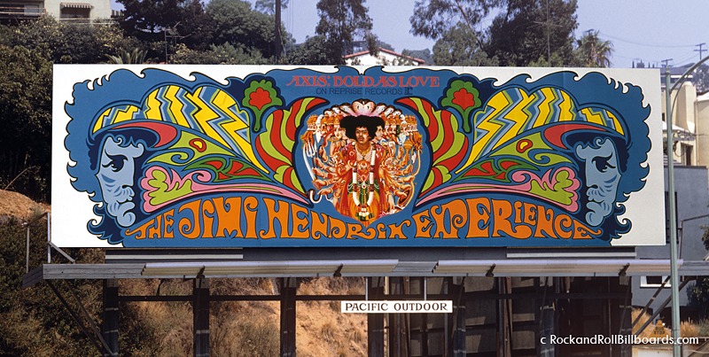 Top: The Tommy billboard from 1972 featuring gigantic chrome pinball eyes. Above: An early billboard mural for the Jimi Hendrix Experience in 1968. Photos by Robert Landau.