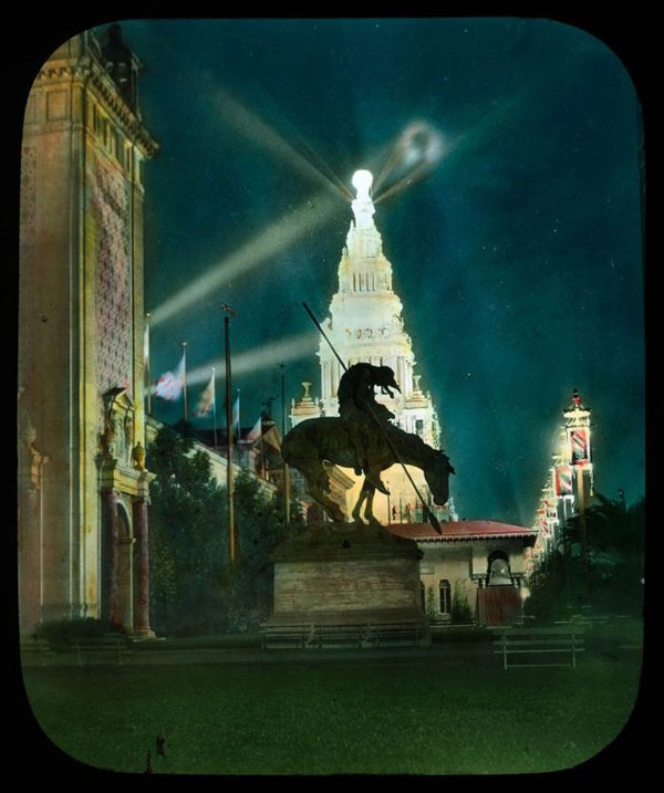 The Tower of Jewels rises behind James Earle Fraser's famous statue titled