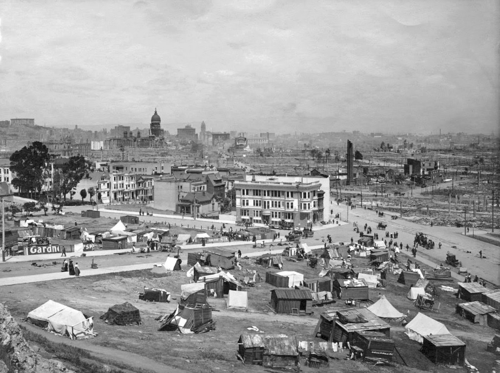 Top: A colorful view of the fair by night. Courtesy Laura Ackley. Above: A makeshift refugee camp on a hillside above Market Street in 1906, looking toward downtown San Francisco and the burned-out dome of the original City Hall.