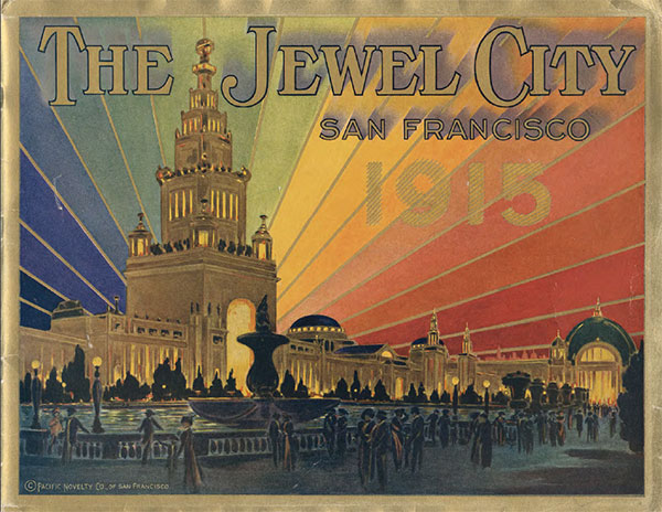 A souvenir brochure showing the Tower of Jewels backlit by the rainbow-hues of the Great Scintillator.