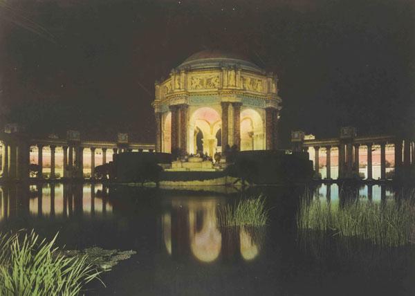 The Palace of Fine Arts under nighttime illumination. Courtesy the Seligman Foundation.