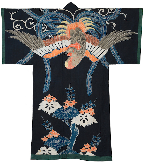 A yogi, like this one dyed and painted with a phoenix, is a kimono-shaped bed cover. (From the John C. Weber Collection, image © John Bigelow Taylor)