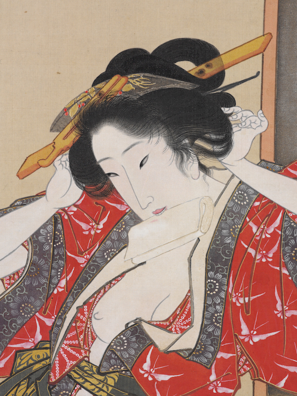 "In a detail from Utagawa Toyokuni's hanging scroll, ""Courtesan in Her Boudoir,"" a woman puts herself back together after having sex. (From the John C. Weber Collection, image © John Bigelow Taylor)"