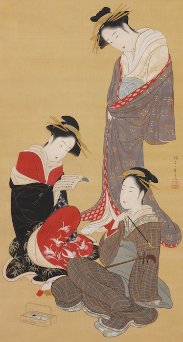 "In Katsukawa Shunshō's hanging scroll, ""Three Beauties,"" one courtesan appears disheveled, as if returning from having sex with a client, while another sings from a songbook. A geisha, identified by her swept-back hairdo and subdued clothing, accompanies the singing on samisen. (From the John C. Weber Collection, image © John Bigelow Taylor)"