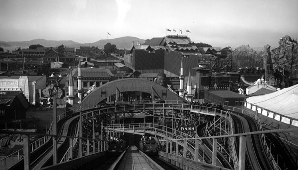 Looking over the Joy Zone from a wooden roller coaster ride. Courtesy the Seligman Family Foundation.