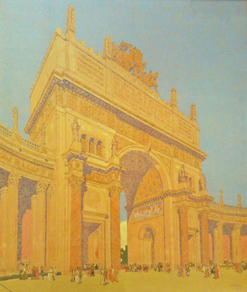 "Jules Guérin painted this view of the Arch of the Rising Sun in 1913 to illustrate the building's California color scheme. Via the <a href=""http://sfpl.org/index.php?pg=2000734801"">San Francisco Public Library</a>."