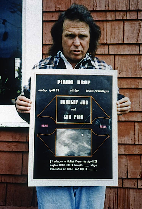 In the 1990s, Paul Dorpat gave Joe McDonald (above) a copy of a poster designed by Paul Heald and made to promote the Piano Drop.