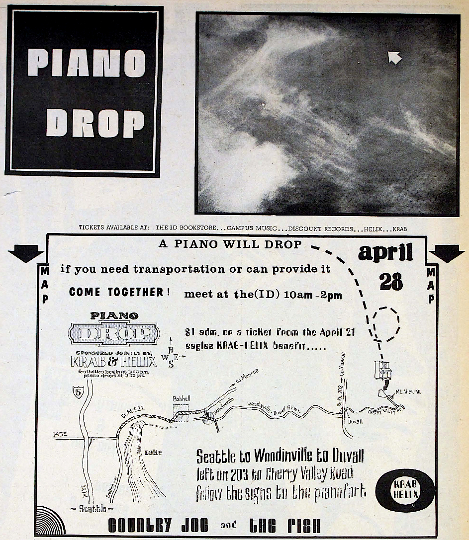 "This ad in the ""Helix"" for the Piano Drop included a map to the event (click to enlarge)."