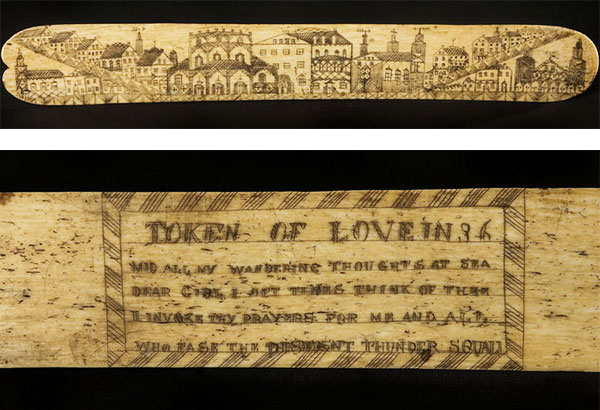 """A scrimshaw """"whalebone"""" busk housed at the Smithsonian Institute's """"On the Water"""" collection features a cityscape on the front and a love poem on the back. (Via americanhistory.si.edu)"""