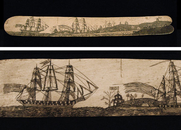 """Above: See the full scrimshaw busk and a detail that shows whaling ships sailing into port. (From the Charles Whipple Greene Museum in Warren, Rhode Island, via the New Bedford Whaling Museum Blog) Top: Two scrimshaw """"whalebone"""" busks from the early 1800s housed at the Winterthur Museum in Delaware. (Via Winterthur.org)"""