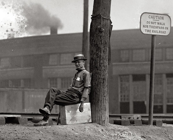 During the Great Railroad Strike of 1922, railroads hired guards like this one to protect strikebreakers and prevent train hopping. (From the National Photo Company, Library of Congress)