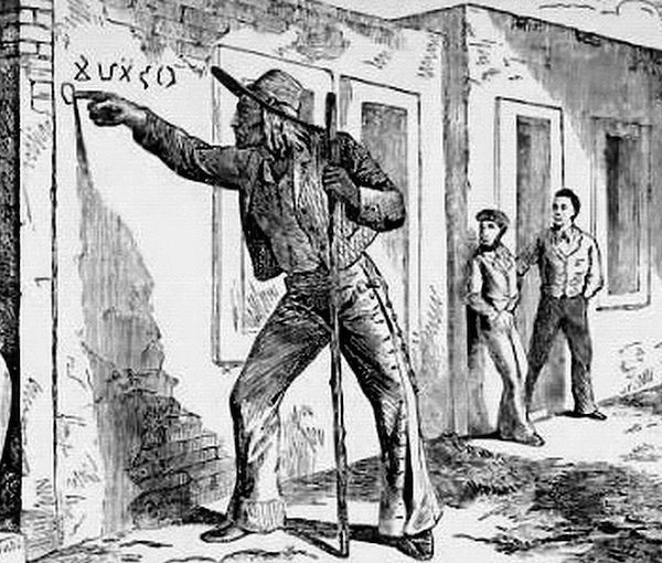 """An illustration from the 1873 book, """"A La California,"""" by Colonel Albert S. Evans, shows a hobo making marks. (Via WikiCommons)"""