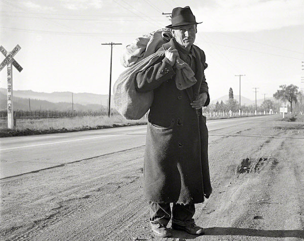 """The caption on this 1938 Dorothea Lange photo reads, """"More than 25 years a bindle stiff. Walks from the mines to the lumber camps to the farms. The type that formed the backbone of the Industrial Workers of the World (IWW) in California before the war."""" (Via Library of Congress)"""
