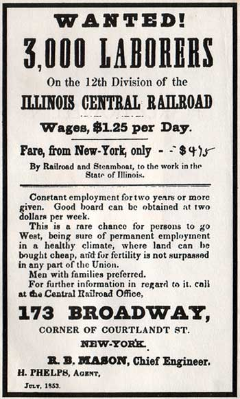 """An 1853 help-wanted sign for work on the railroad, which brought New York City laborers to Illinois. (Via """"In Search of the American Hobo,"""" from the American Studies program at the University of Virignia)"""