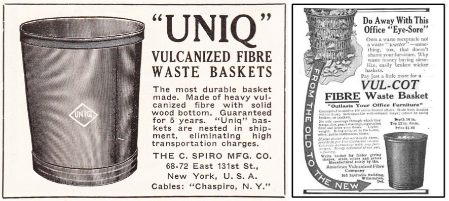 "Since they could not promise to be fireproof, ""vulcanized"" fibre waste baskets were sold on the basis of their economy and ability to contain a mess (click to expand). Photos via Jos Legrand."