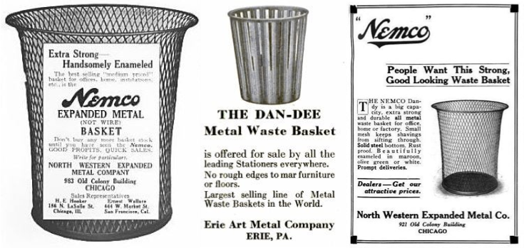 "Early 20th-century advertisements for Nemco and Dan-dee waste baskets. Photos via <a href=""http://www.urbanremainschicago.com/original-oversized-early-20th-century-antique-american-nemco-expanded-metal-mesh-factory-office-trash-or-garbage-can.html"">Urban Remains</a>."
